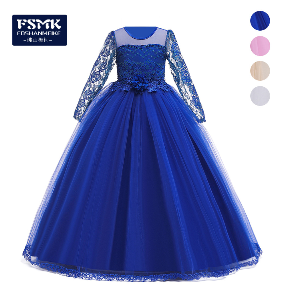 Cross Border Hot Sales CHILDREN'S Dress Princess Dress Long Sleeve Tube Top Dresses Of Bride Fellow Kids Lace Big Boy Catwalks F
