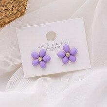 New Design Korean Cute Purple Flower Earrings 2020 Summer Sweet Metal Flowers Statement Stud for Women Fashion Jewelry