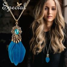 Special Bohemian Long Necklace Ceramic Vintage Necklaces & Pendants Natural Feather Jewelry Gifts for Women S1765N vintage feather necklace