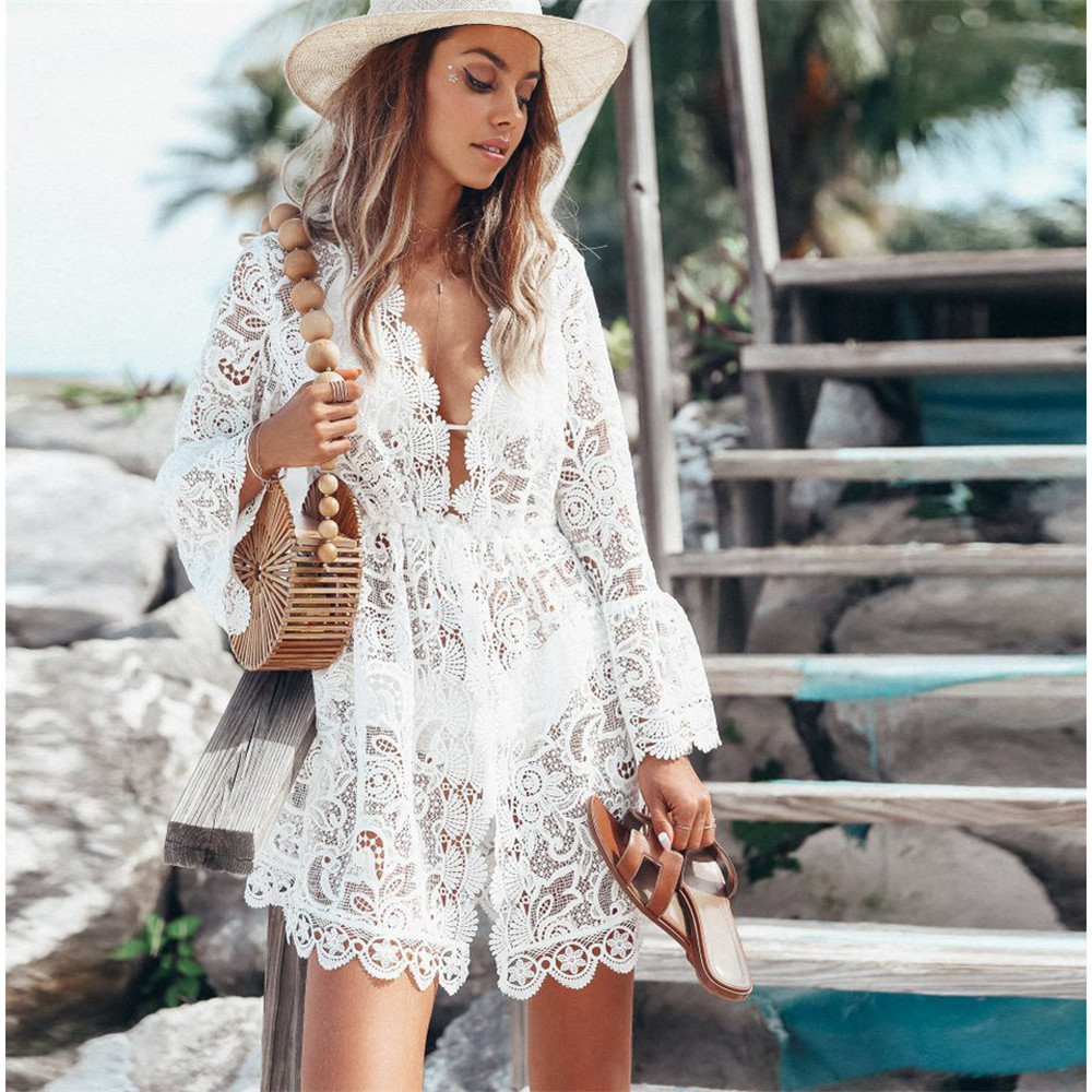 2020 Hot Summer Women Bikini Cover Up Floral Lace Hollow Crochet Swimsuit Cover-Ups Bathing Suit Beachwear Tunic Beach Dress