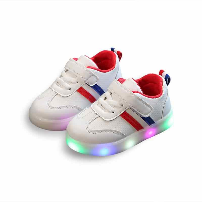 Children's LED shoes PU leather boys girls glowing sneakers soft sole wild kids baby sport shoes with light up size 21-30