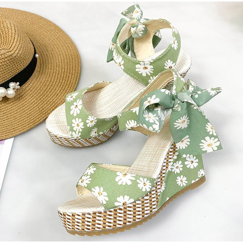 Women Wedge Sandals Female Open Toe Floral Bowknot Platform Bohemia High Heel Sandals Fashion Ankle Strap Ladies Shoes Summer