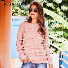 EVERAFTER Pink cascading fringed knitted women sweater O -neck long sleeve pullover jumper chic knitwear winter elegant top 2019