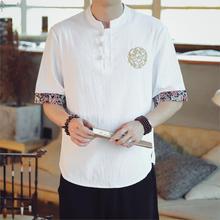 New Japanese Kimonos Short-Sleeved T-shirt Embroidered Harajuku Yukata Japan Summer Male Linen Men Shirts Loose Asian Costume