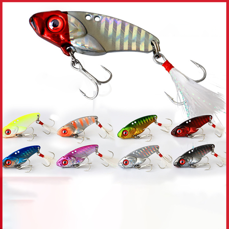 1Pcs Metal VIB 5/10/15/20g Fishing Lure Vibration Spoon Hard Baits with Feather Crankbait Wobbler Swimbait Cicada VIB Tackle