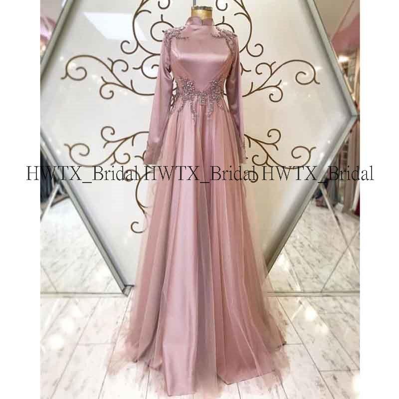 HWTX_Bridal Muslim Kaftan Evening Dress Arabic Dubai 2020 New Long Sleeves High Neck Elegant Tulle Long Prom Dresses Formal Gown