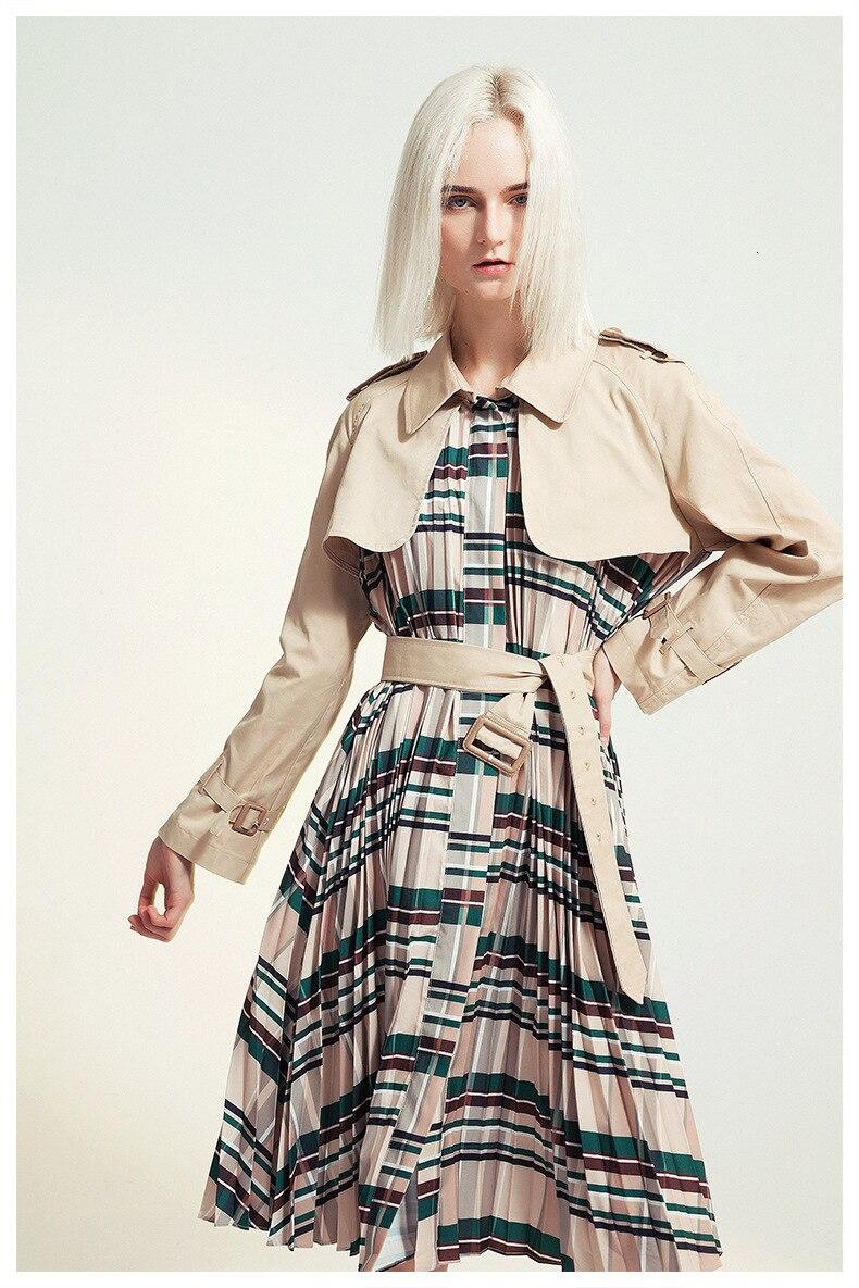 [EAM] Women Belt Pleated Hit Color Trench New Lapel Long Sleeve Loose Fit Windbreaker Fashion Tide Autumn Winter 19 1B096 6