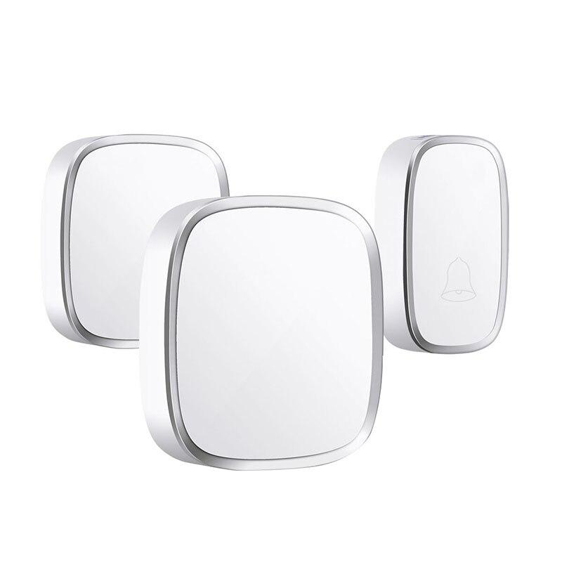 Ip44 Waterproof Wireless Doorbell 280M Range Smart Home Door Bell Chime Ring 1 Button 2 Receiver Vc110-220V(Us Plug)