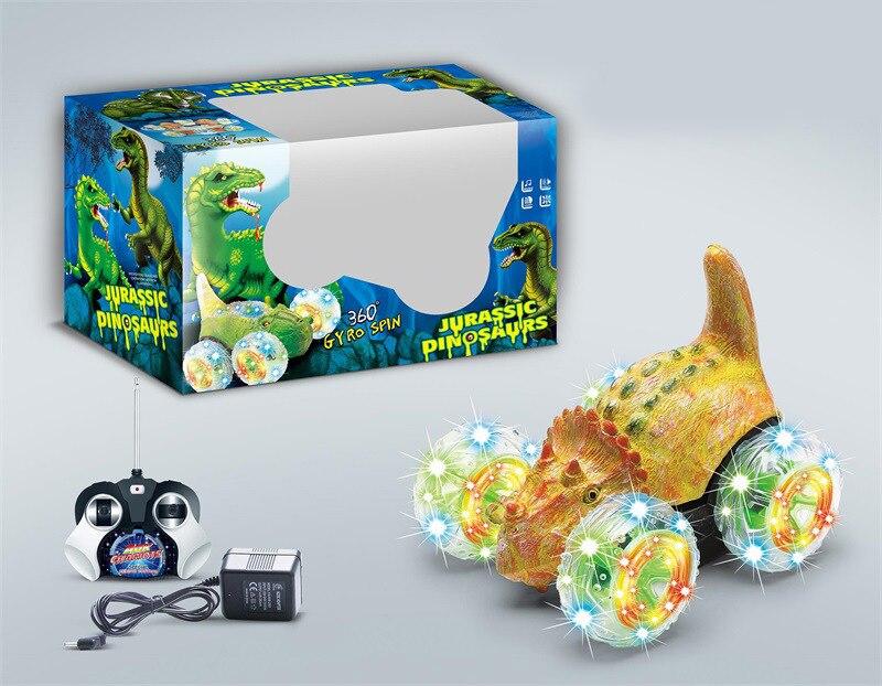 Hot Selling Dump Truck Children Dinosaur Fan Gun Che Stunt Toy Car Electric Roll Remote Control Stunt Car