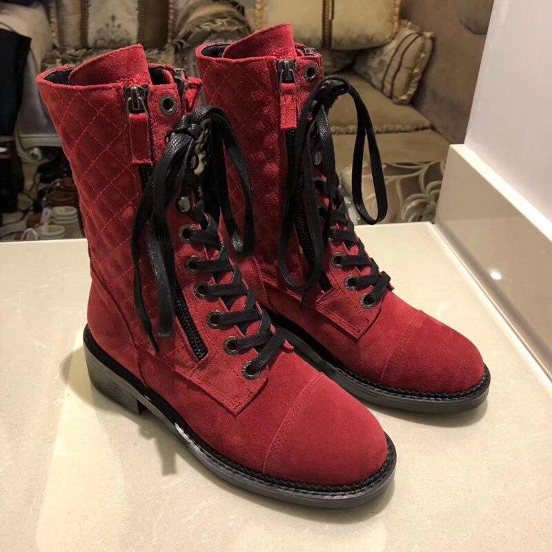 Г., новые модные повседневные женские ботинки «Мартенс» удобные вязаные дышащие женские ботинки на шнуровке женская обувь на толстой подошве - Цвет: 4