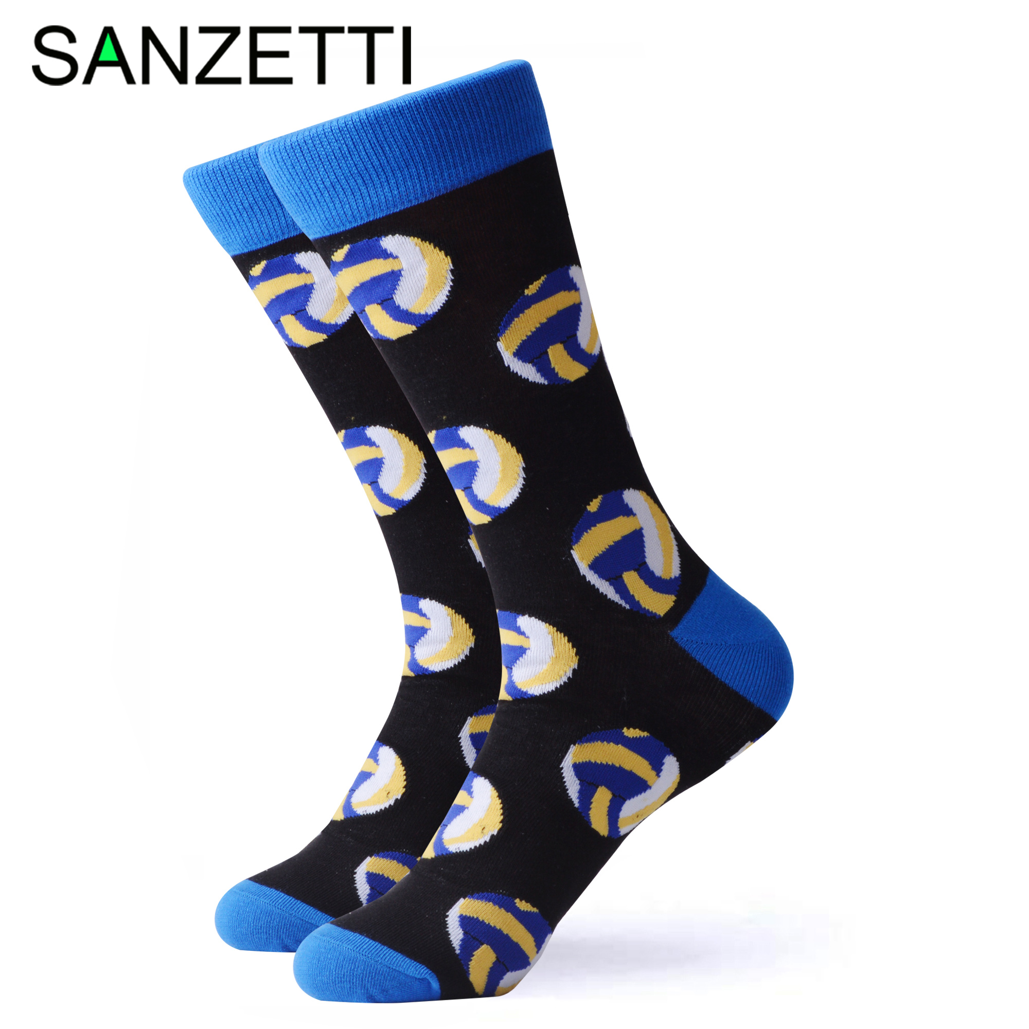 SANZETTI 1 Pair Happy Socks High Quality Men's Colorful Combed Cotton Volleyball Rugby Football Golf Gift Wedding Dress Socks