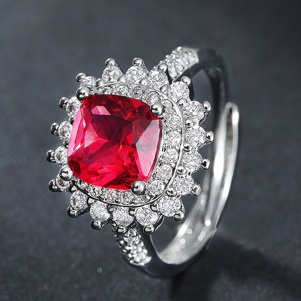 Princess luxury red crystal ruby gemstones diamonds rings for women white gold silver color jewelry bague bijoux party gifts new