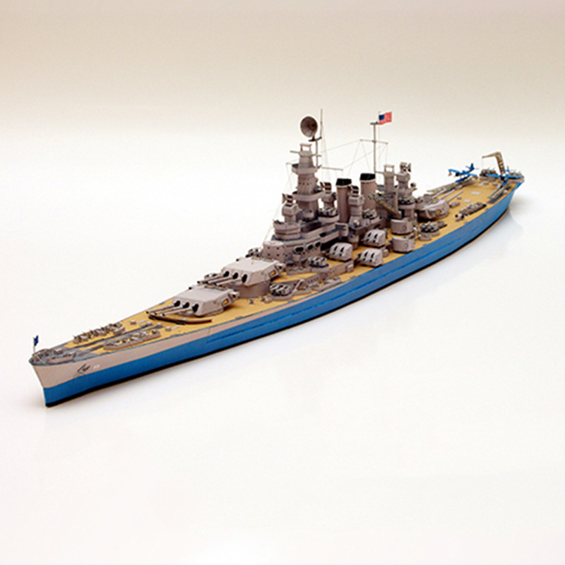 1:400 U.S. North Carolina Class Battleship Emulational DIY 3D Paper Card Model Building Sets Military Model Construction Toys