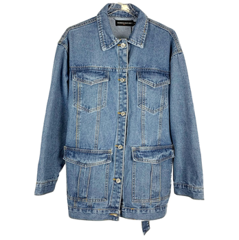 Spring autumn fashion belted denim jacket women loose belted single breasted jeans coat фото