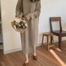 Women autumn Winter Long Sweater Dress Female Long Sleeve St