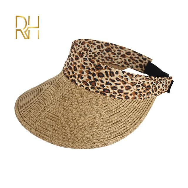 Women Without Top Visor Caps Summer Straw Sun Hats Fashion UV hat Elastic beach