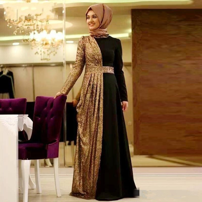Gold Black 2019 Muslim   Evening     Dresses   A-line Long Sleeves Sequins Sparkle Scarf Dubai Saudi Arabic Long   Evening   Gown Prom