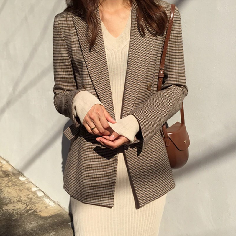Spring Vintage Double Breasted Office Ladies Plaid Blazer Long Sleeve Loose Houndstooth Suit Coat Women blazers Female