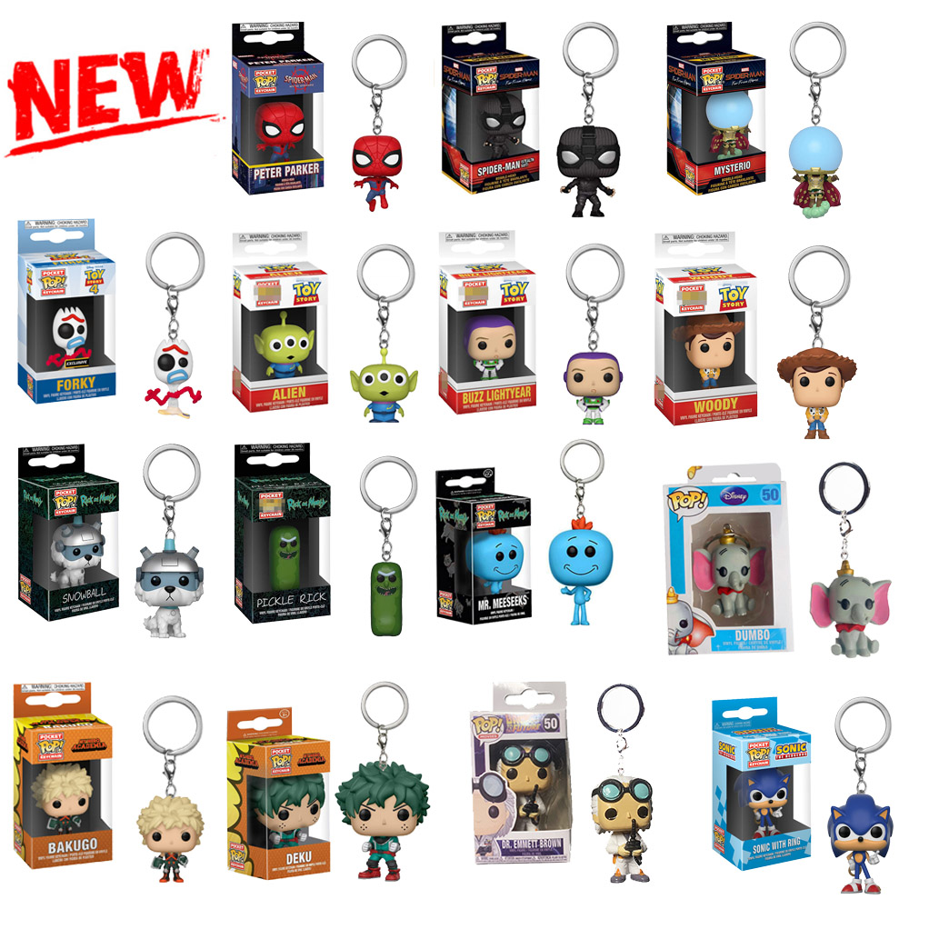 Newest Funko POP Keychain Cartoon Toy Story Forky Rick And Morty Snowball Super Hero Spider-man Marvel Toys Keychain Collectible