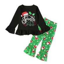 hilittlekidAutumn Baby Girl Cotton Long Sleeve Christmas Santa Claus Print T-shirt Trousers Toddler Casual Outerwear Clothes Set