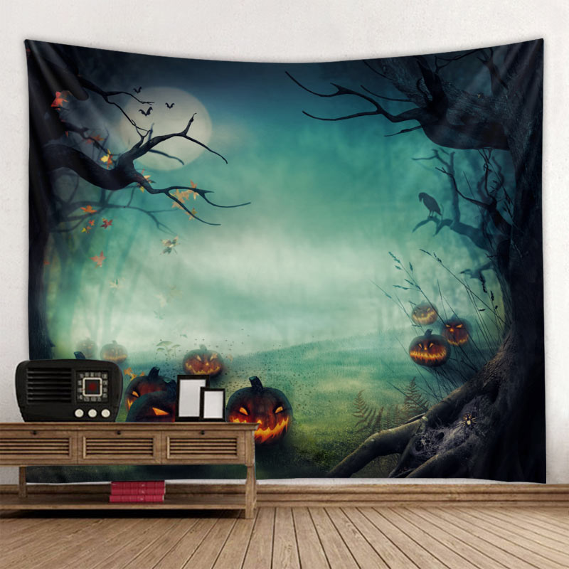 Newest Halloween Tapestry Wall Hanging Cartoon Skull Pumpkin Tree Witch Cover Halloween Tapestry Brand New in Tapestry from Home Garden