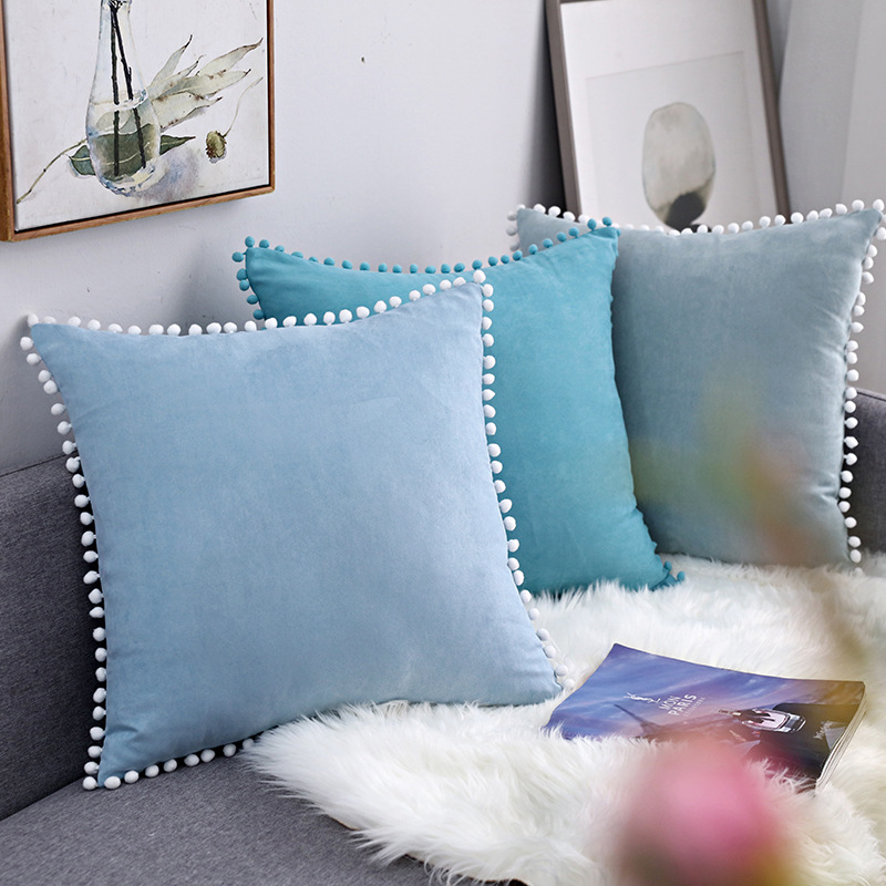 Nordic Style Suede <font><b>Pillow</b></font> <font><b>Case</b></font> Balls Lace Edge Pillowcase Bed Sofa Decorative Throw <font><b>Pillow</b></font> Cover funda almohada 35*50/<font><b>50*50cm</b></font> image