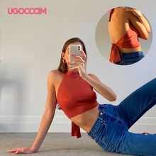 UGOCCAM Bandage Halter Crop Tops Bow Sexy Sleeveless Backless Slim Corset Tank Tops Female Short Vest Summer Clothes For Women