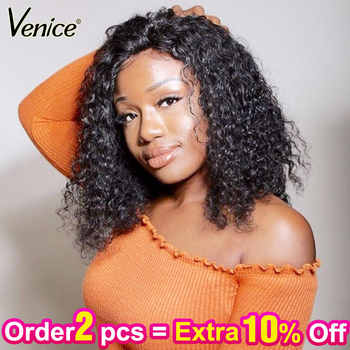 Venice Hair 360 Lace Frontal Wigs For Black Women Curly Short Human Hair 4.5 inch Lace Wig With Baby Hair Pre Plucked Remy Hair - DISCOUNT ITEM  36% OFF All Category