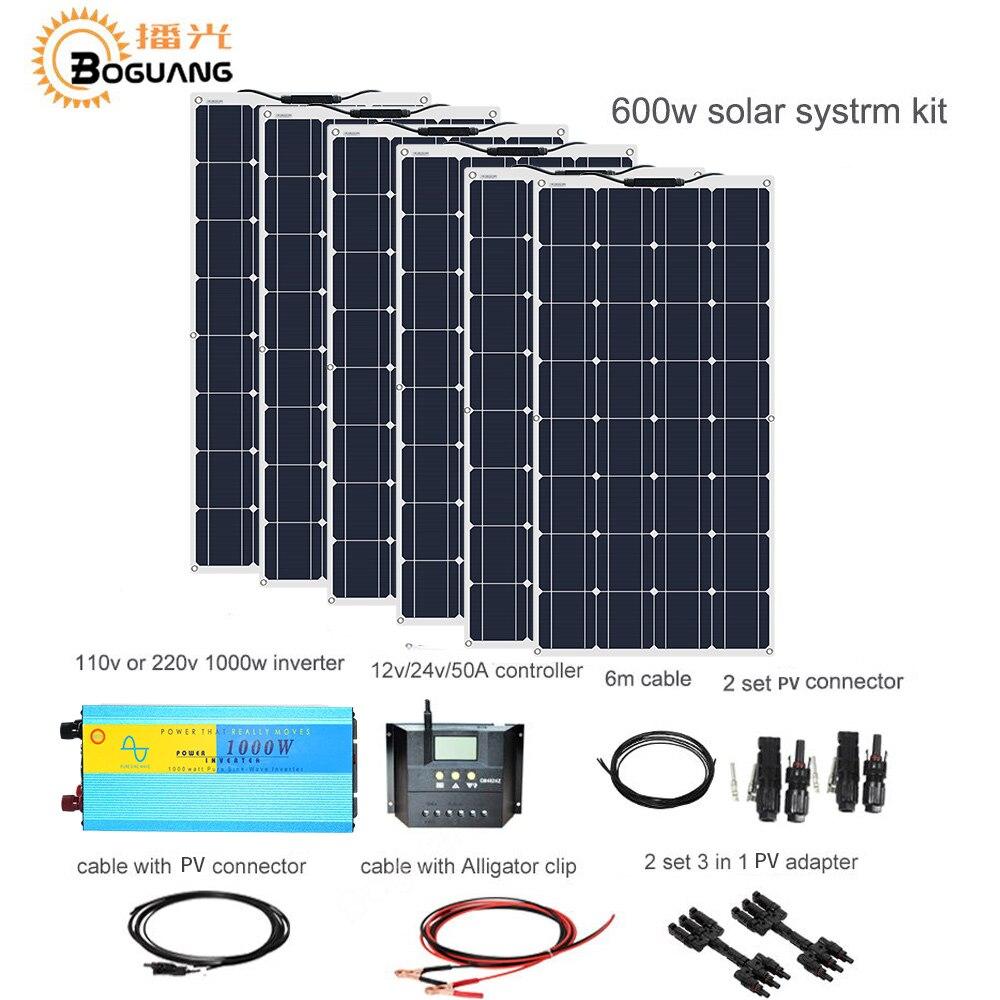Boguang 600w kit de bricolage solaire système 100w panneau solaire 50A contrôleur pv connecteur adaptateur câble pour 12v batterie RV yacht voiture charge