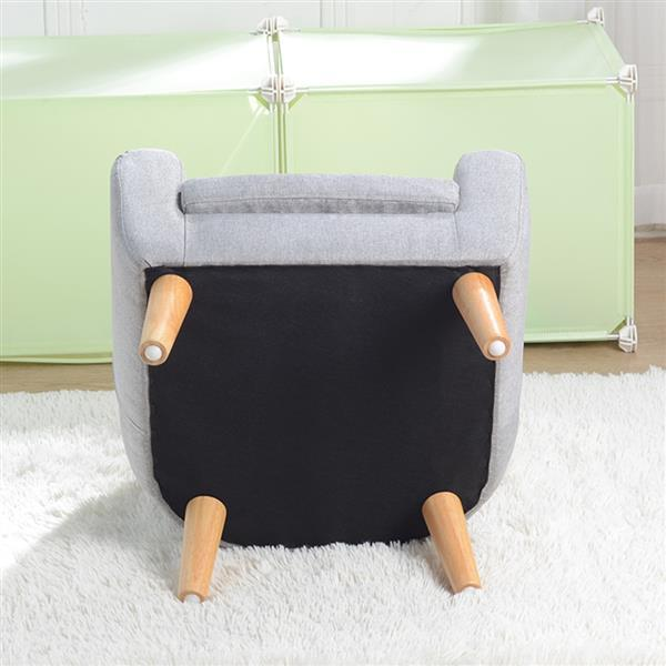 Children's Single Sofa with Sofa Cushion Removable and Washable Linen Gray 6