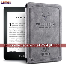 Deer Printed Leather Cover Shell For Amazon Kindle Paperwhite 1 2 3 Magnetic Smart Case for 4 10th Generation