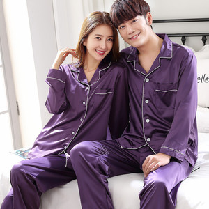 Image 5 - Black Men Nightwear Shirt Pants Sleep Pajamas Sets Long Sleeve Sleepwear Spring Autumn Silky Nightgown Robe Clothes L XXXL