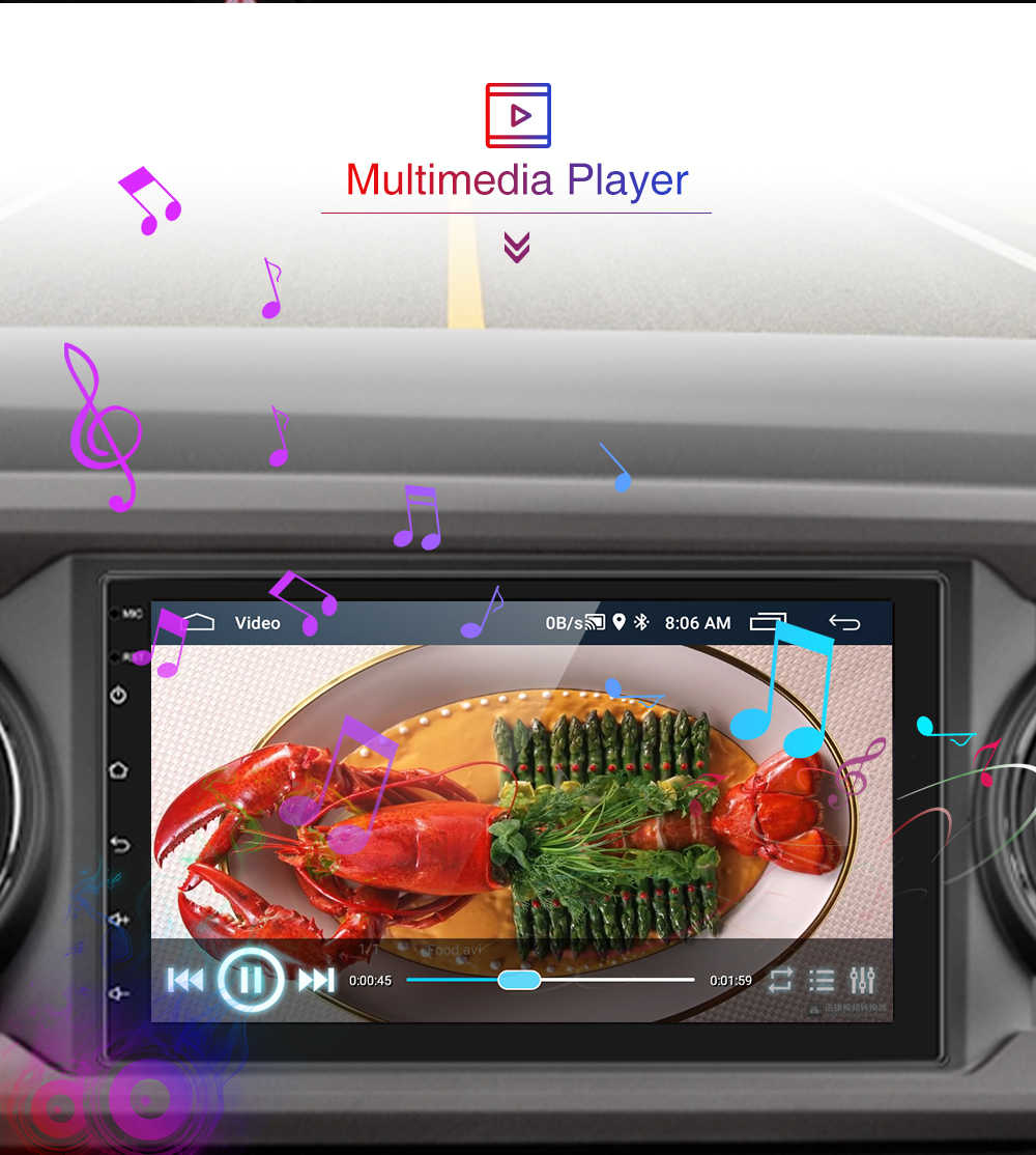 Amprime 2 DIN Mobil Radio Android Universal GPS Navigasi Bluetooth Layar Sentuh Akses Internet Nirkabel Mobil Audio Stereo FM USB Mobil Multimedia MP5