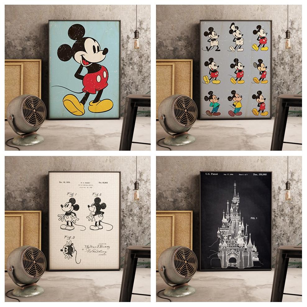 Микки Минни мультфильм аниме качество Настенное искусство домашний декор холст живопись скандинавские украшения отель Бар Кафе детская комната плакат A636
