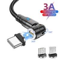 USLION 540 Drehen Magnetischer Kabel Schnelle Lade Handy Draht Kabel Magnet Ladegerät Micro USB Typ C Kabel Für iPhone xiaomi