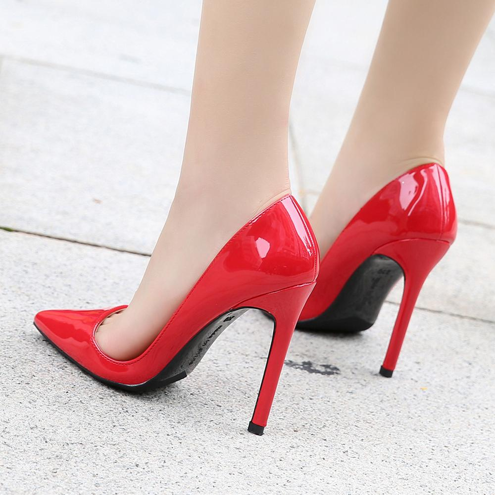 Office Women's Shoes Pointed Toe PU Leather Ladies Shoes Stiletto Shoes Women Pumps sexy Shoes for Women High Heels Sex 8-color