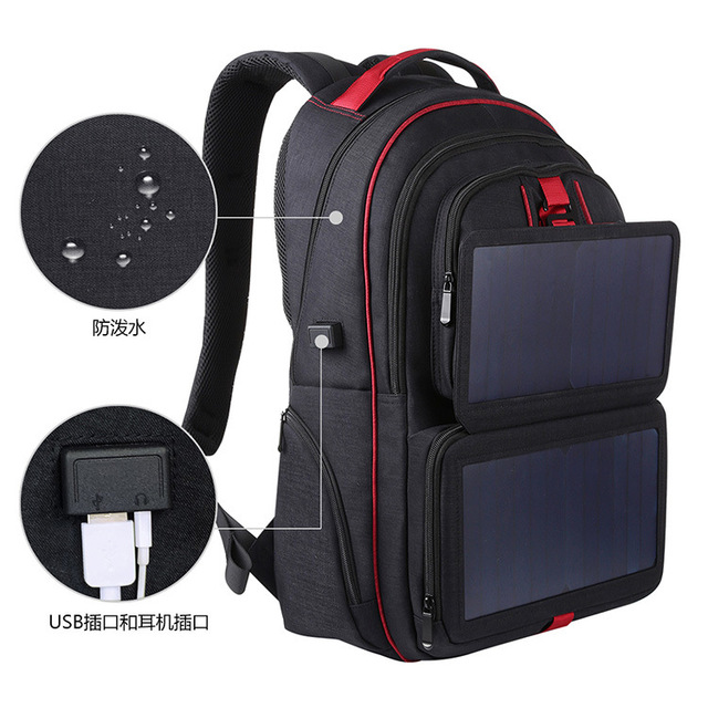 14W Solar Backpack Casual Travel Outdoor Computer Phone USB Charging Bag Solar Powered Designer Bagpack Solar Charger Daypacks 5