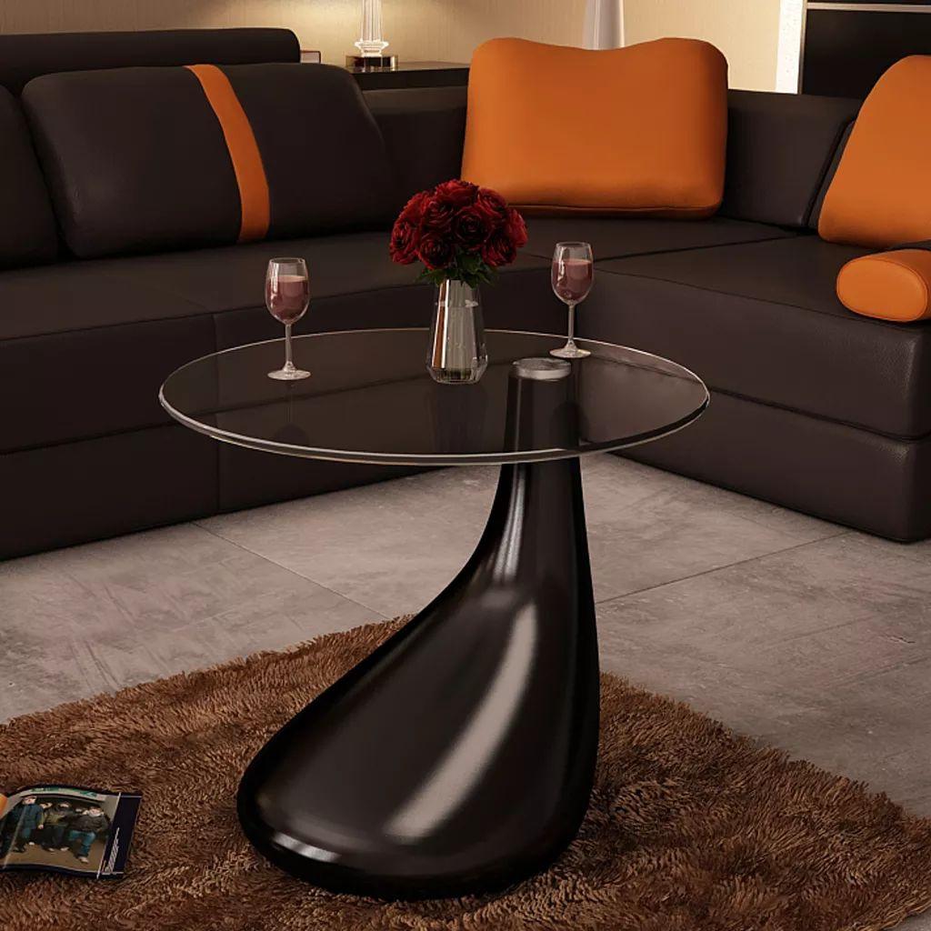 VidaXL Coffee Table With Round Glass Top High Gloss Black