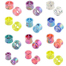PAIR Colorful Ear Expander Acrylic Dot Screw Back Flesh Tunnel Hollow Ear Plug Gauges Stretcher Piercing Body Fashion Jewelry(China)