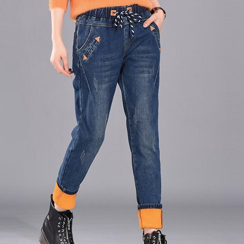 Winter Casual Plus Size Women's Jeans Loose High Waist Thicken Warm Jean Mom Skinny Jeans Blue Oversize Pants Women Pencil Pants