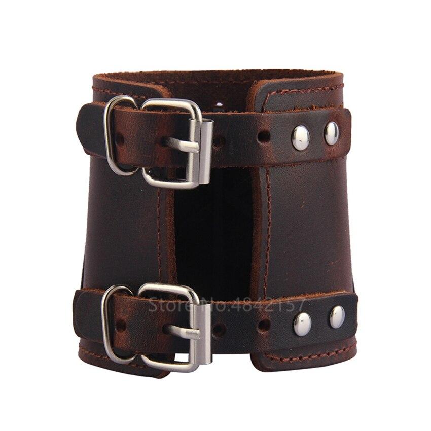 Bracelet en cuir véritable médiéval Viking réglable 5
