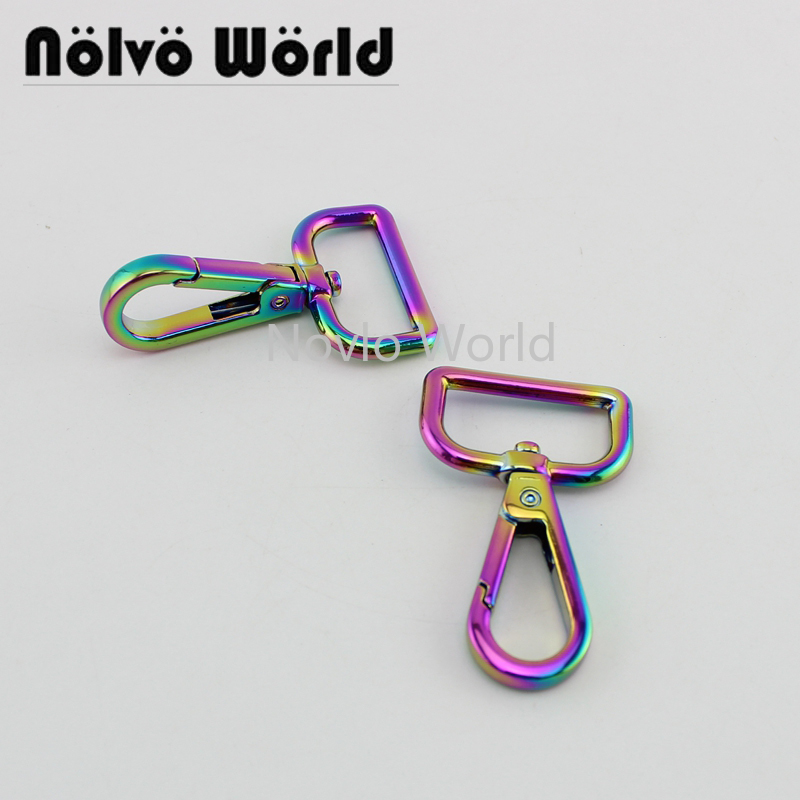 Wholesale 500pcs, 53*25mm 1 Inch, Rainbow High Fashion Metal Buckle Handbag Purse Snap Hook Lobster Buckle Diy Clasp Hooks