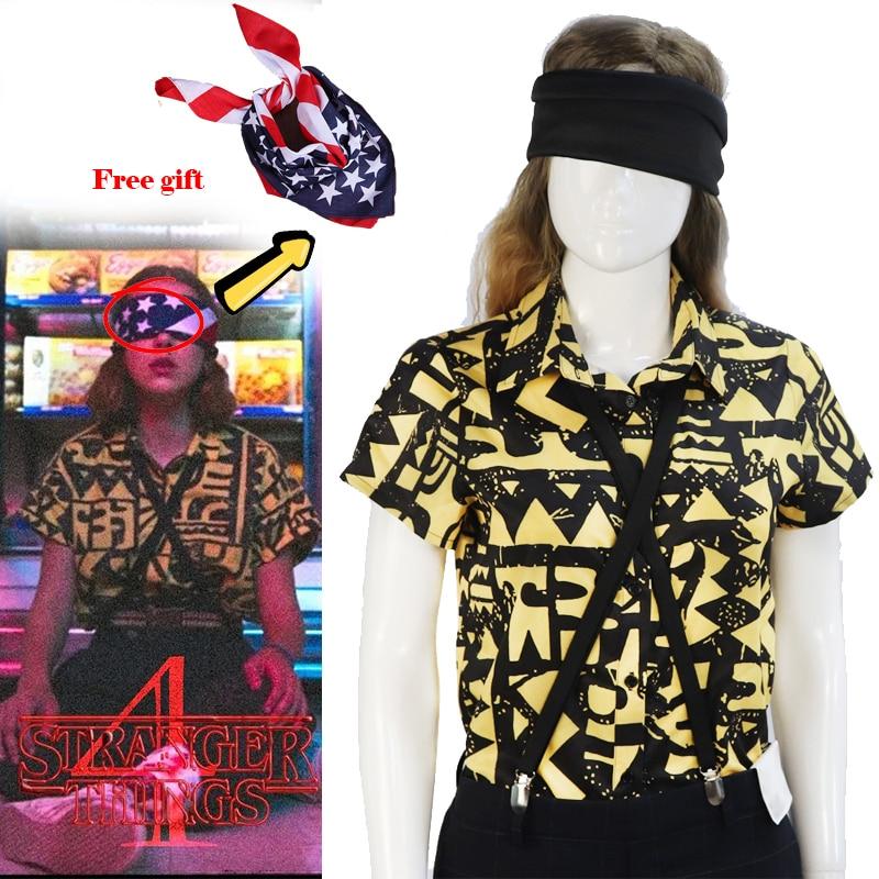 Stranger Things Eleven Cosplay Costumes T-shirt Shirt EL Halloween Girls Women Props Headwear