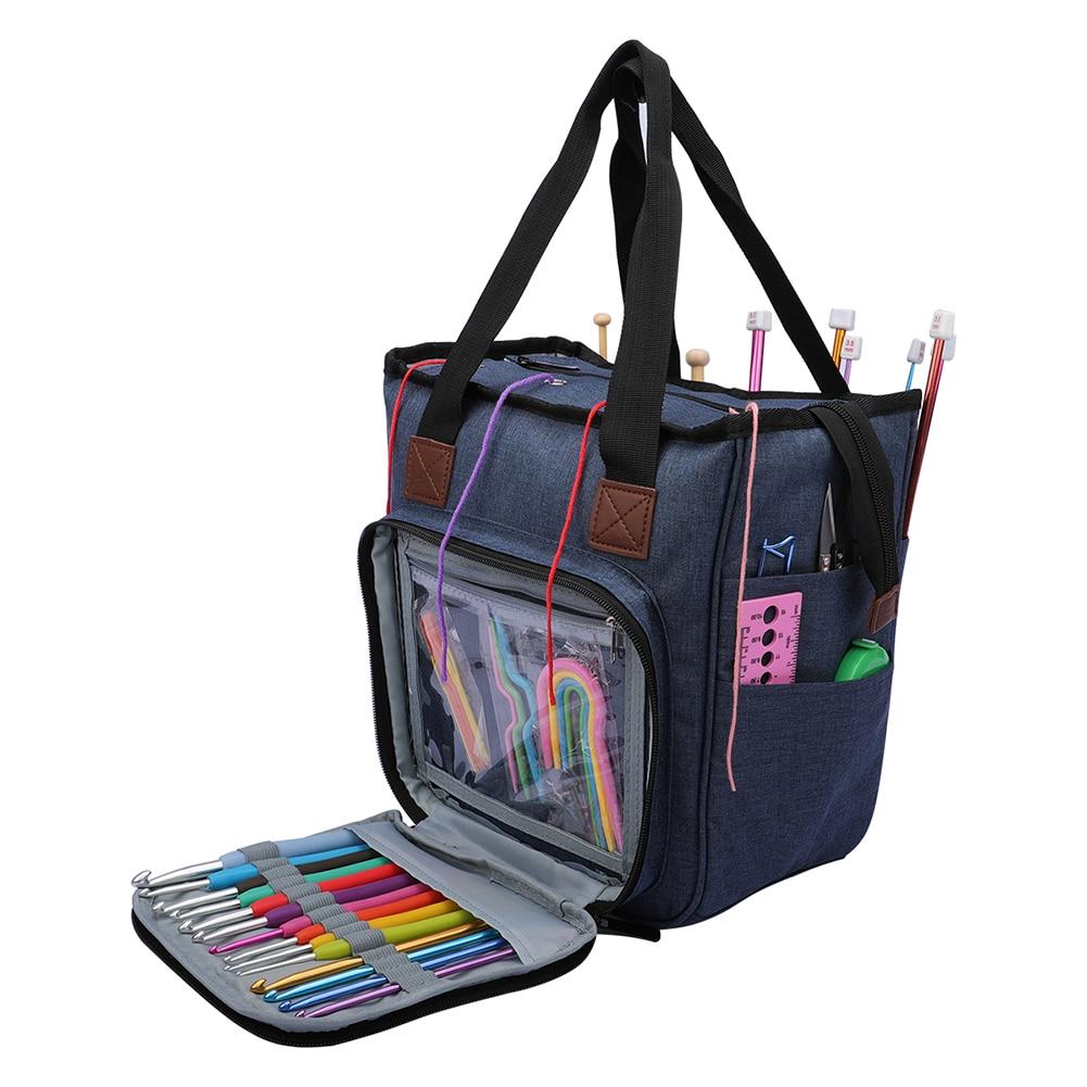 Multifunctional Crochet Hooks Thread Yarn Storage Bag DIY Knitting Needles Yarns Bag Sewing Organizer Case Bag Holder