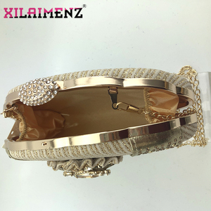 Image 2 - 2020 New Design Pointed Toe Sandals Italian Women Shoes and Bag to Match in Golden Color High Quality Nigerian Lady Party Shoes