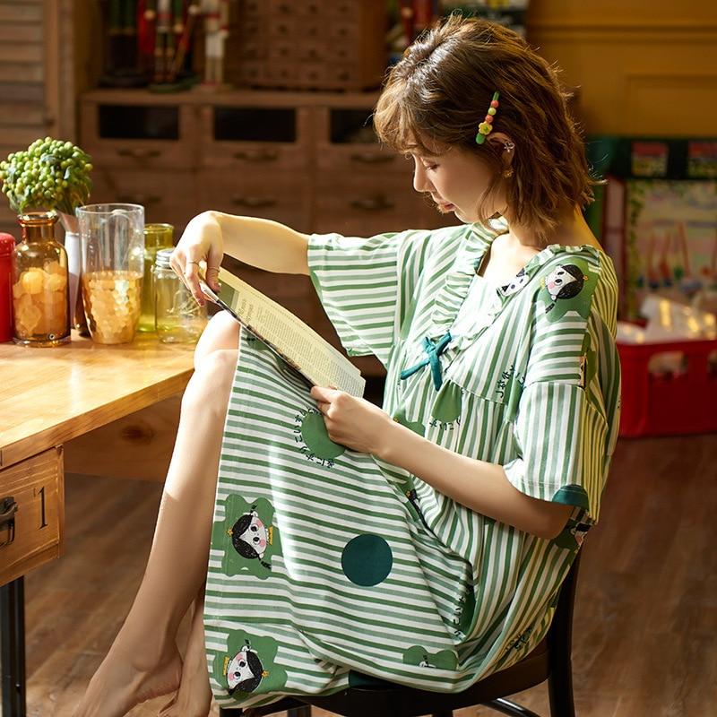 2020 New Spring Summer Nightdress Lovely Women's Sleepwear Soft Cotton Casual Home Wear Cartoon Ladies Nightwear Big Size Pijama 4