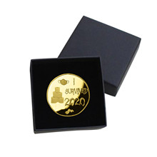 I Survived 2020 Coin Home Souvenir Coins Collection Decoration Commemorative Coin With Box Old Metal New Year Gift Gold Coin