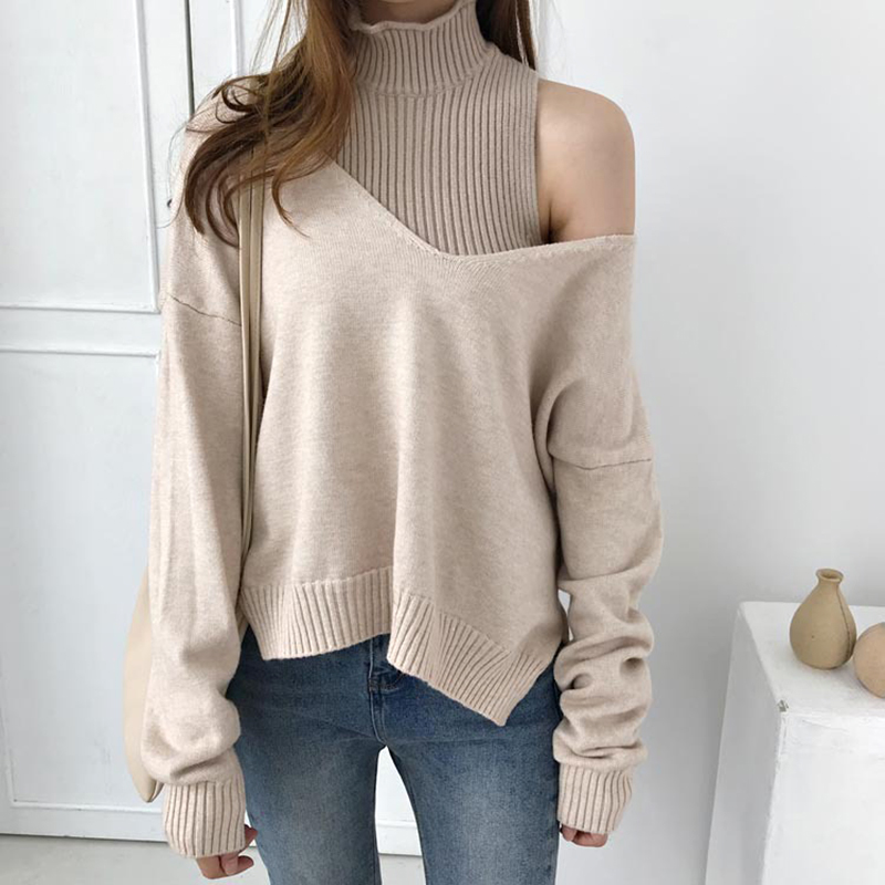 2PC Deep V Turtleneck Sweater Set Women Spring Autumn Solid Knitted Pullover Women Slim Soft Jumper Sweater Female Knit Tops Set