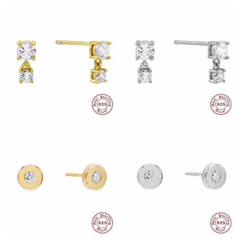 Christmas Earrings 925 Sterling Silver Round Cut CZ Zircon Screw Back Stud Earrings For Women Wedding Elegant Jewelry A30