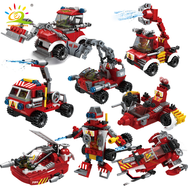 HUIQIBAO 806pcs 8in1 City Fire Truck model Building Blocks firefighting set Fireman Figures Bricks Construction Toy for Children